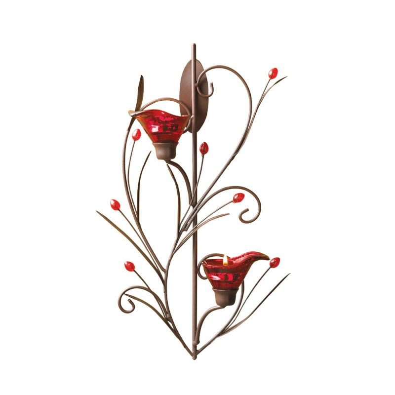 Image 0 of Ruby Red Blossom Art Deco Style Wall Sconce
