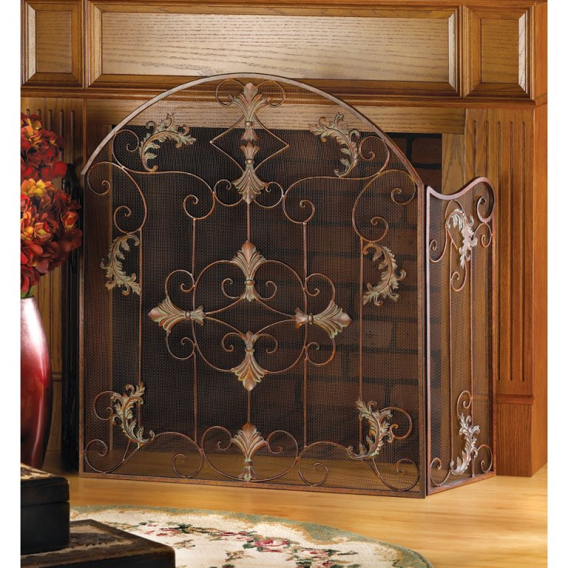 Rustic Florentine Scrollwork Fireplace Screen
