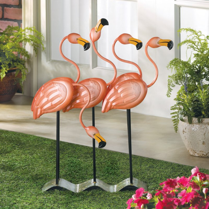 Image 1 of Flock of Pink Flamingos Statue Tropical Garden Decor