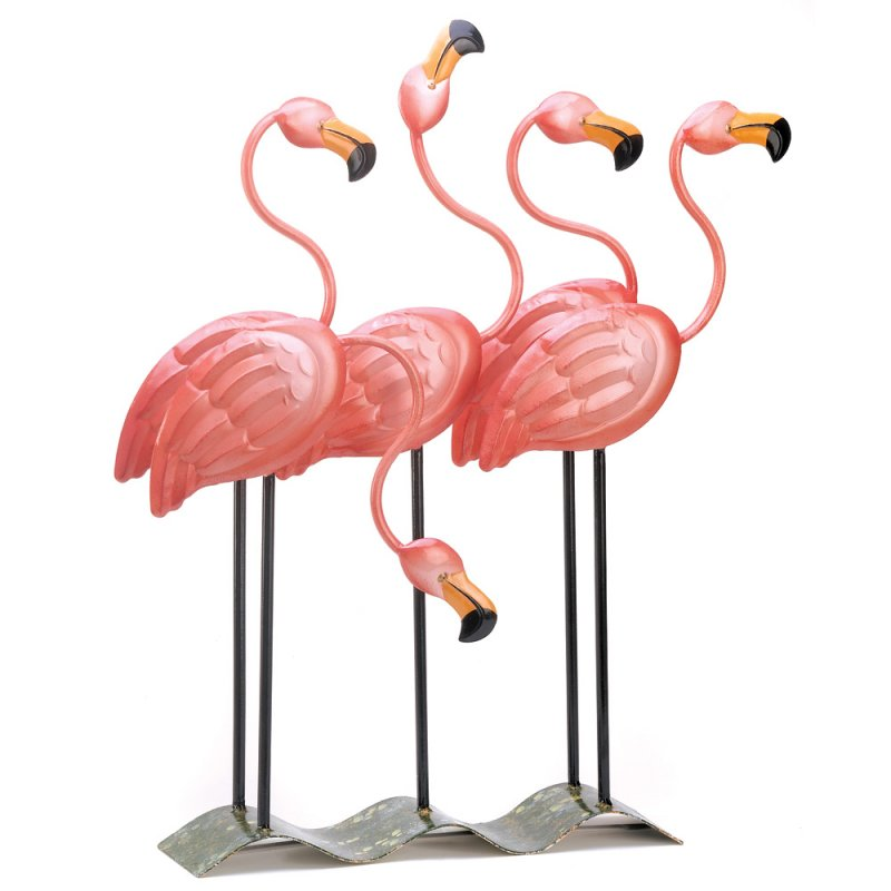 Image 0 of Flock of Pink Flamingos Statue Tropical Garden Decor