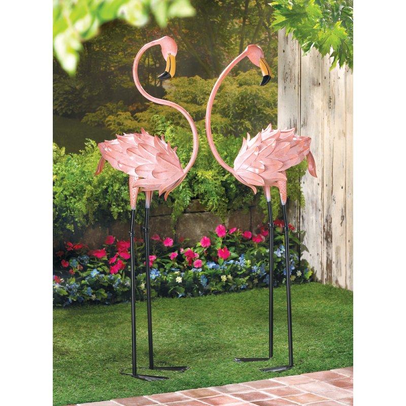 Image 0 of Set of 2 Flamboyant Pink Flamingo Garden Stakes