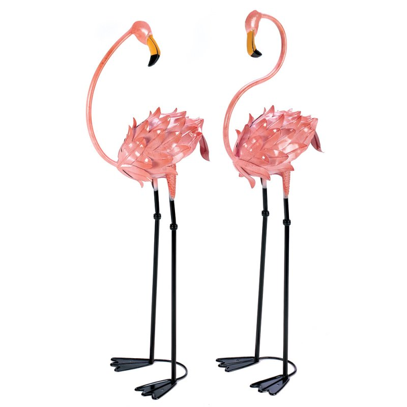 Image 1 of Set of 2 Flamboyant Pink Flamingo Garden Stakes