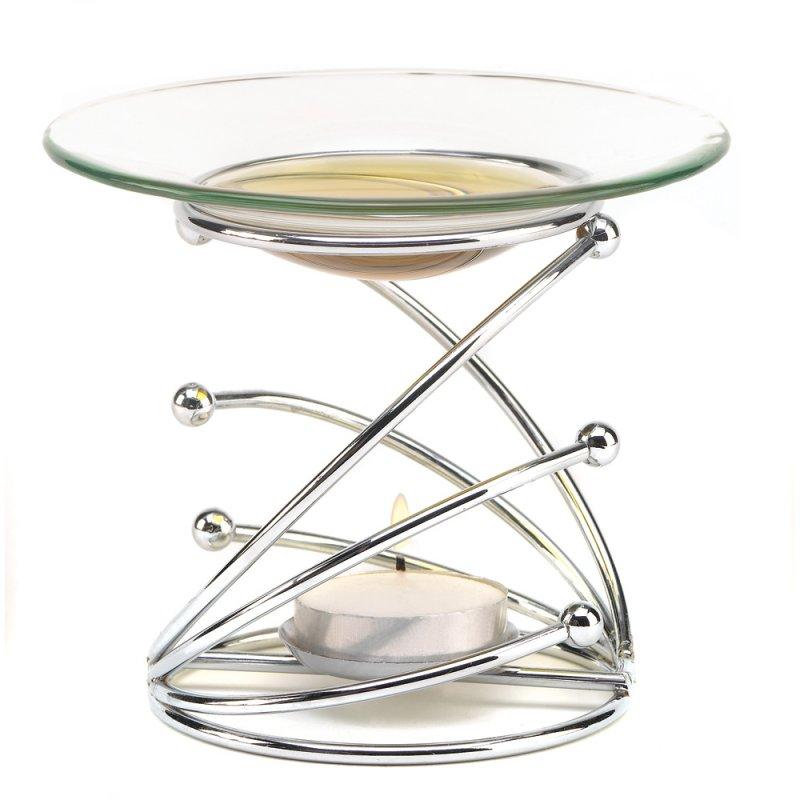 Image 1 of Contemporary Silver Swirl Modern Art Oil Warmer