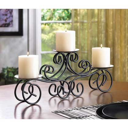 Tuscan Scrollwork Design Candle Holder Centerpiece