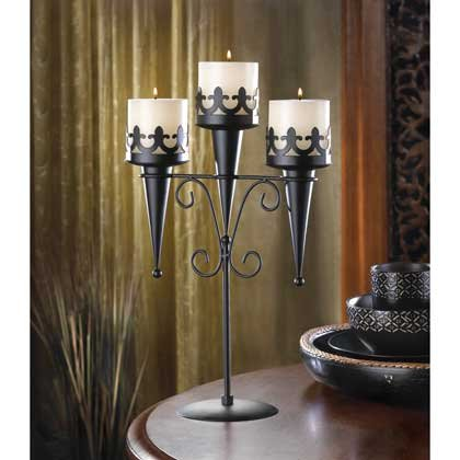 Image 0 of Medieval Gothic Triple Candle Candelabra Stand