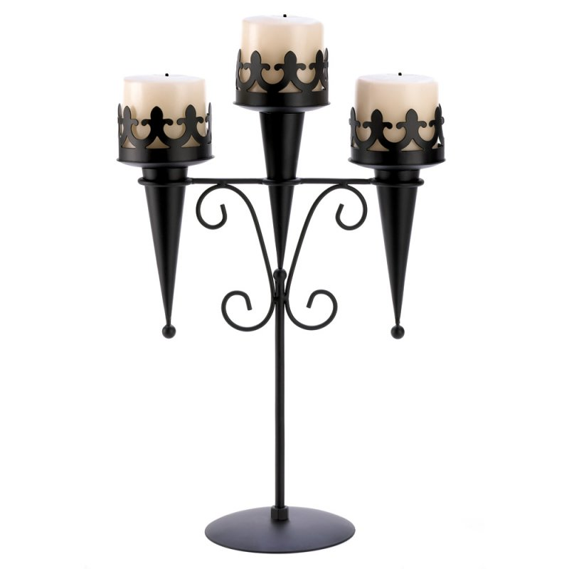 Image 1 of Medieval Gothic Triple Candle Candelabra Stand