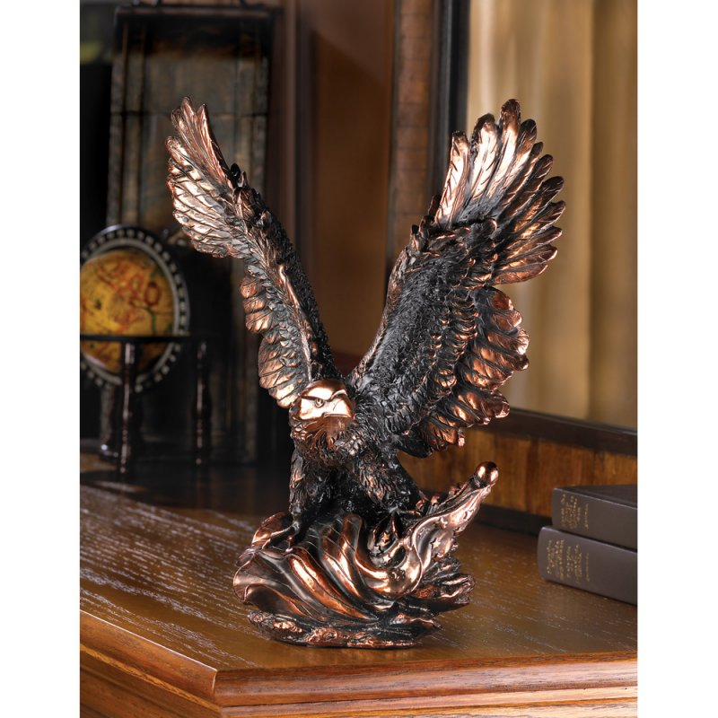 Eagle in Flight Statue Figurine Bronze Finish