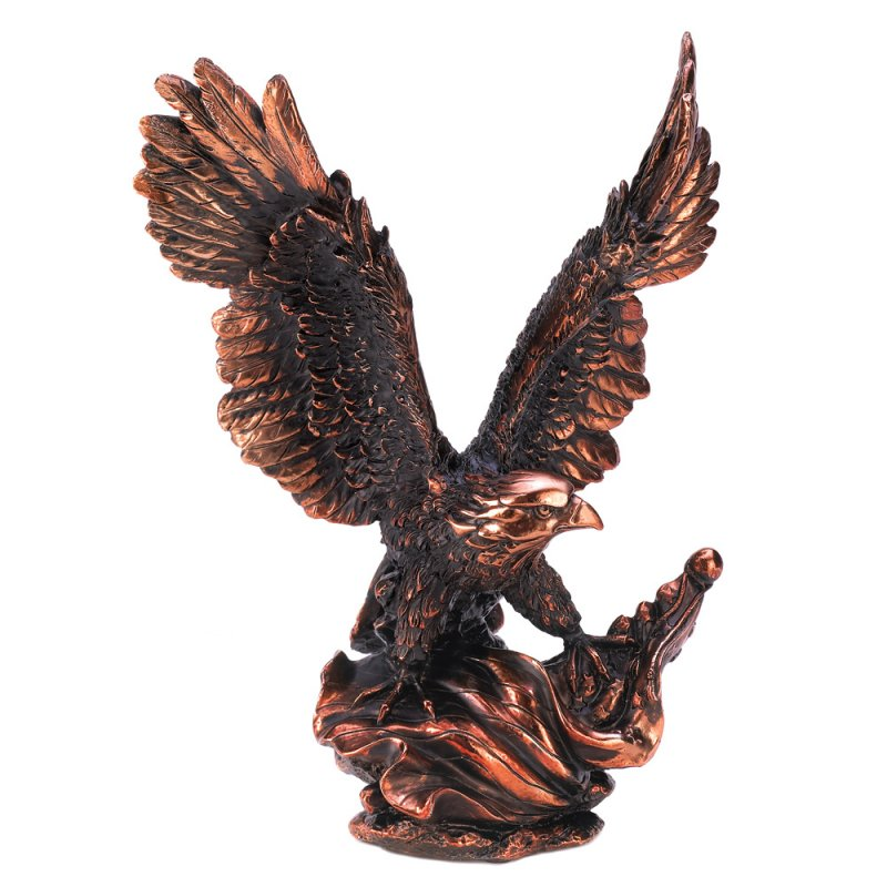 Image 1 of Majestic Eagle in Flight Detailed Figurine Statue Bronze Finish Resin