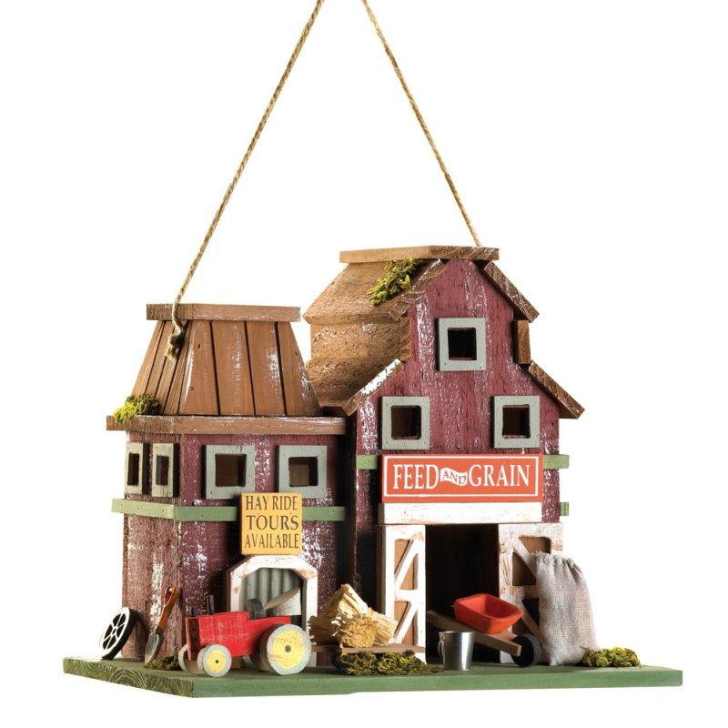 Image 1 of Barnyard Farmstead Feed and Grain Decorative Birdhouse