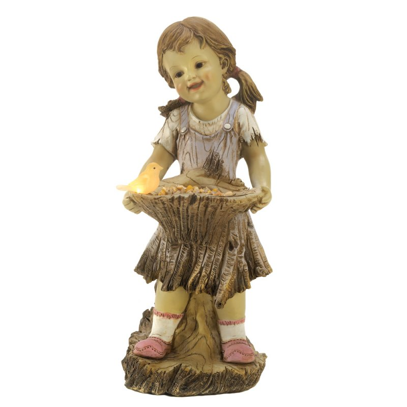 Sweet Summertime Girl with Basket Solar Garden Statue