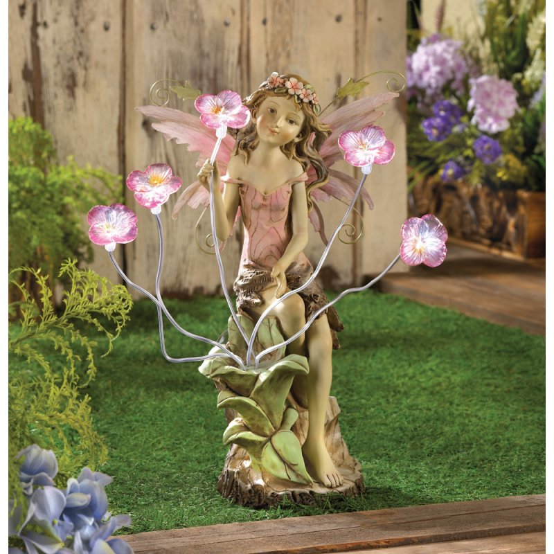 Image 1 of Fairy with Solar Peony Flowers Garden Statue