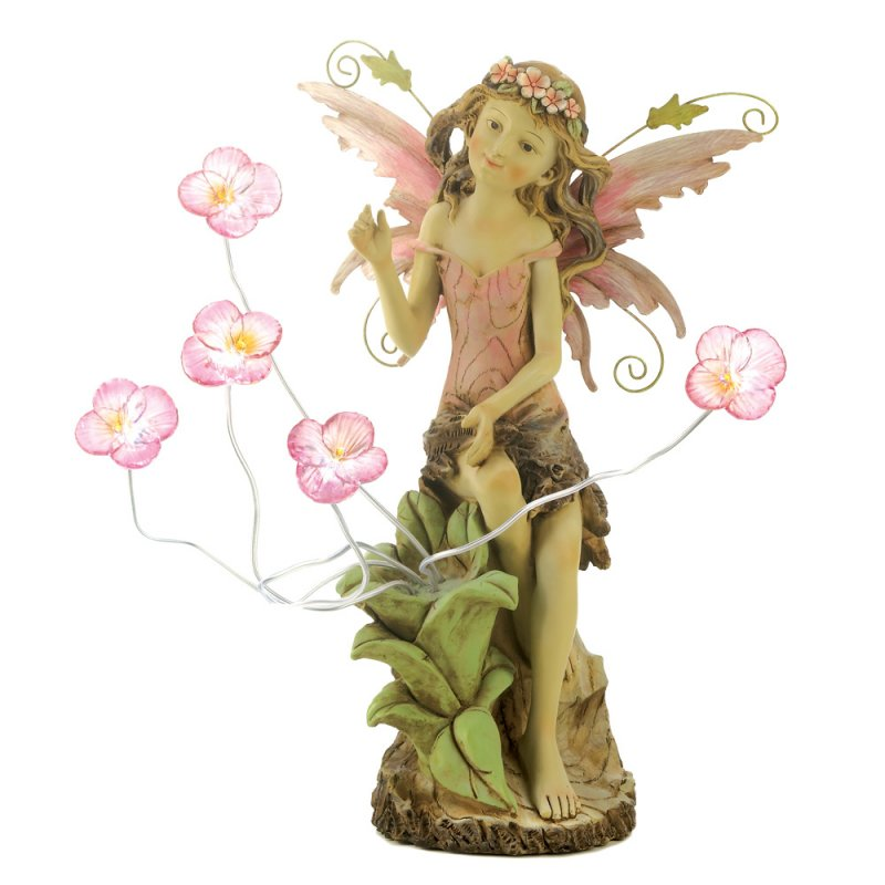 Fairy with Solar Peony Flowers Garden Statue