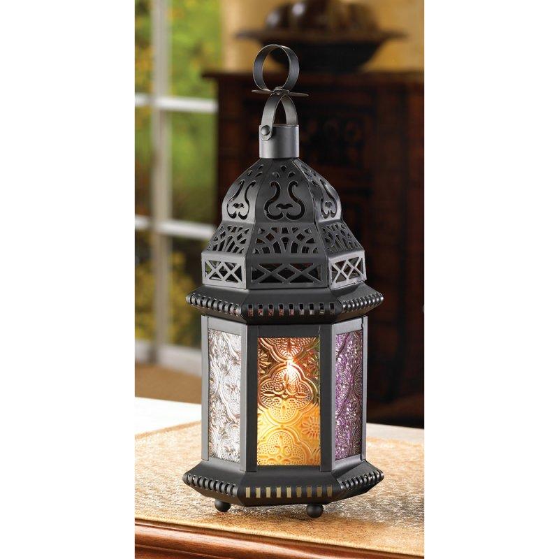 Matte Black Multi-Color Rainbow Candle Lantern