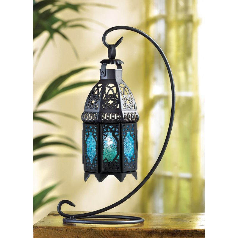 Lacy Sapphire Blue Hanging Lantern on Stand