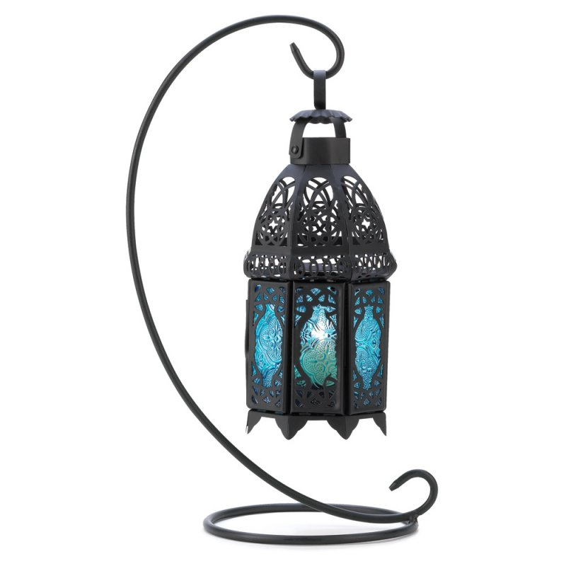 Image 1 of Lacy Sapphire Blue Hanging Lantern on Stand