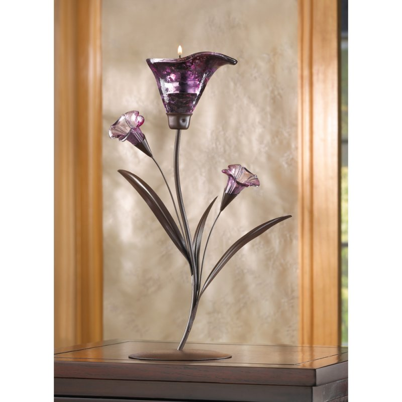 Elegant Dusky Purple Lily Bloom Tealight Candle Holder