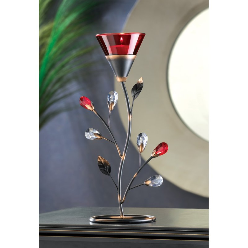 Image 0 of Ruby Red Flower Blossom Tealight Candle Holder Jeweled Stem