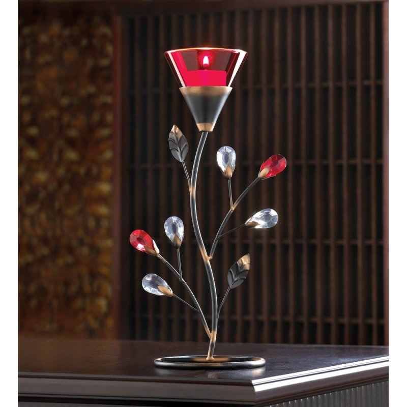 Image 1 of Ruby Red Flower Blossom Tealight Candle Holder Jeweled Stem