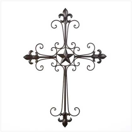 Image 0 of Slender Wrought Iron Curves w/ Fleur de Lis & Lone Star in Center Wall Cross