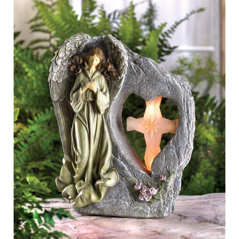 Divine Angel with Solar Light Cross Garden Statue Figurine
