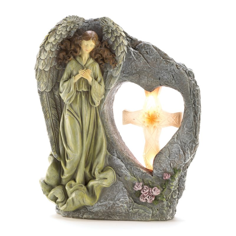 Divine Angel with Solar Light Cross Garden Statue Figurine