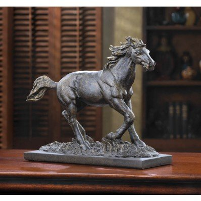 Bronze Color Wild Stallion Horse Statue Figurine