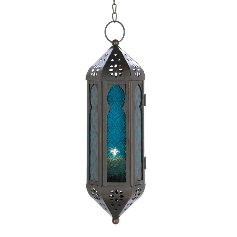 Image 1 of Exotic Moroccan Style Blue Serenity Hanging Lantern Candle Lamp