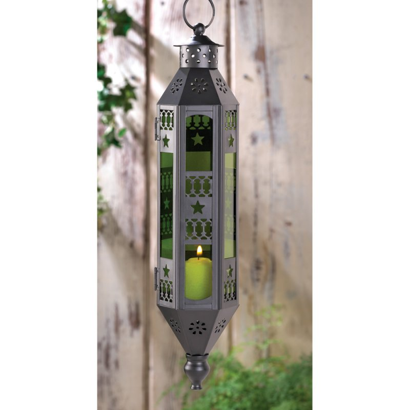 Image 0 of Exotic Moroccan Style Emerald Green Serenity Hanging Lantern Candle Lamp