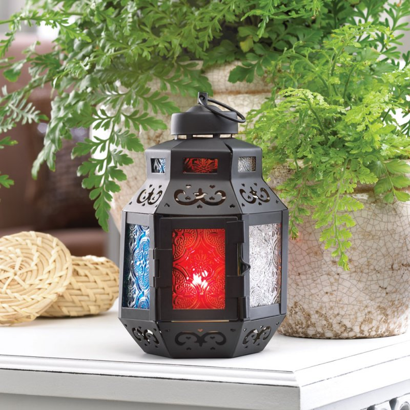 Small Rainbow Delight Morocaan Marketplace Style Candle Lantern