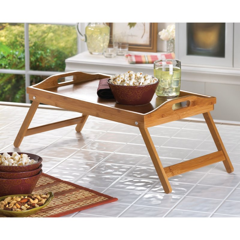 Bamboo Breakfast in Bed Folding Serving Tray with Handles