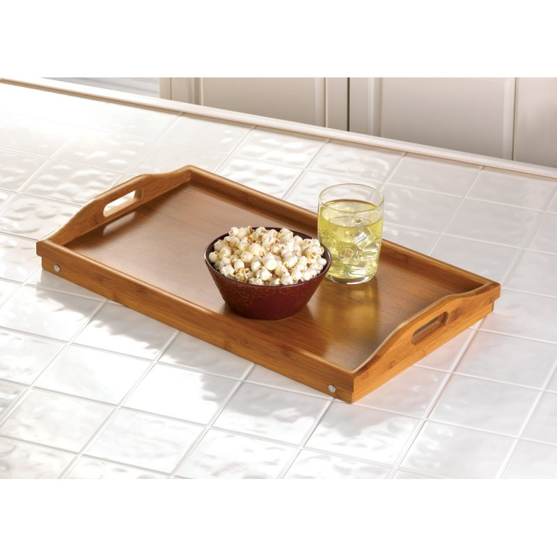 Image 1 of Bamboo Breakfast in Bed Folding Serving Tray with Handles
