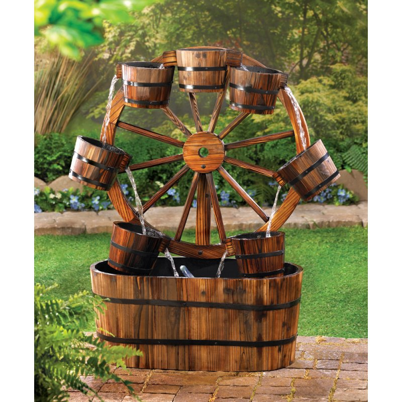All Wooden Western Wagon Wheel And Buckets Garden Water