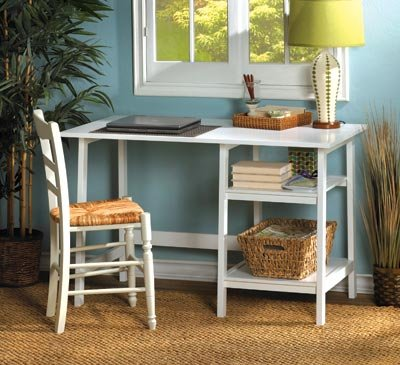 Image 0 of Classic White Contemporary Workstation Desk Home Office, Dorm Room