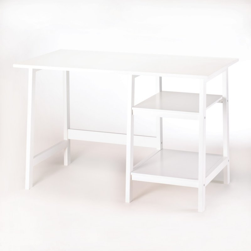 Image 1 of Classic White Contemporary Workstation Desk Home Office, Dorm Room