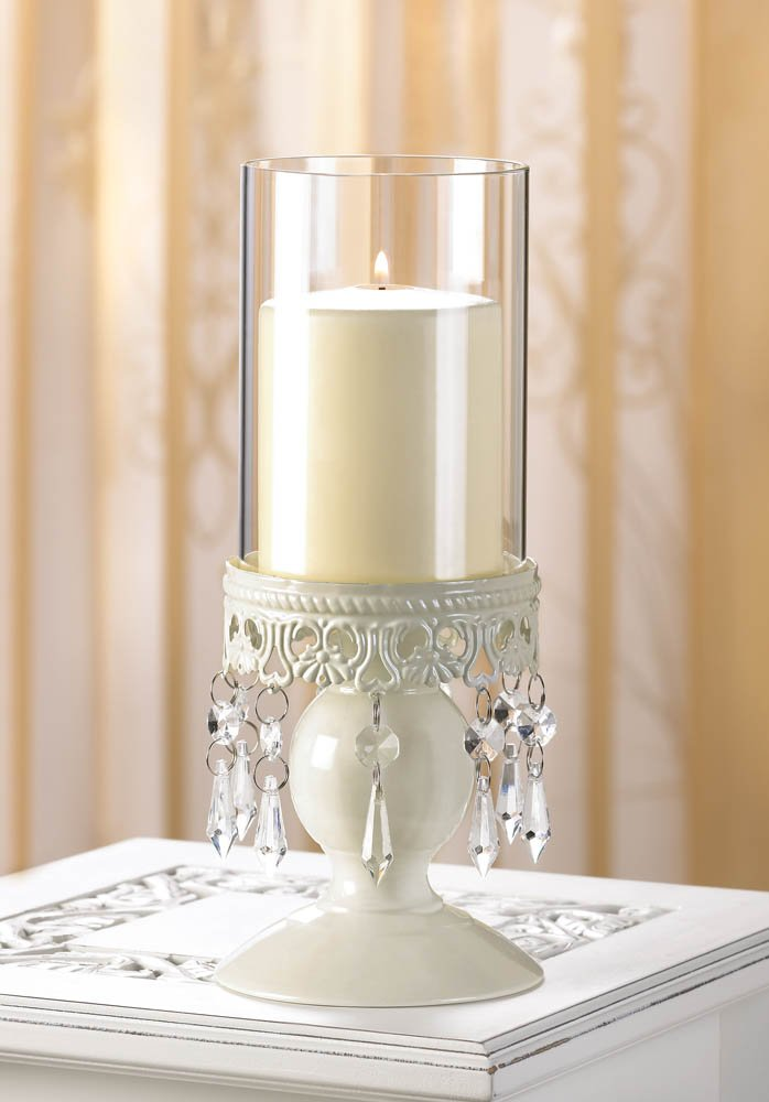 Image 0 of Elegant Ivory Lacy Jeweled Base Victorian Style Hurricane Candle Holder
