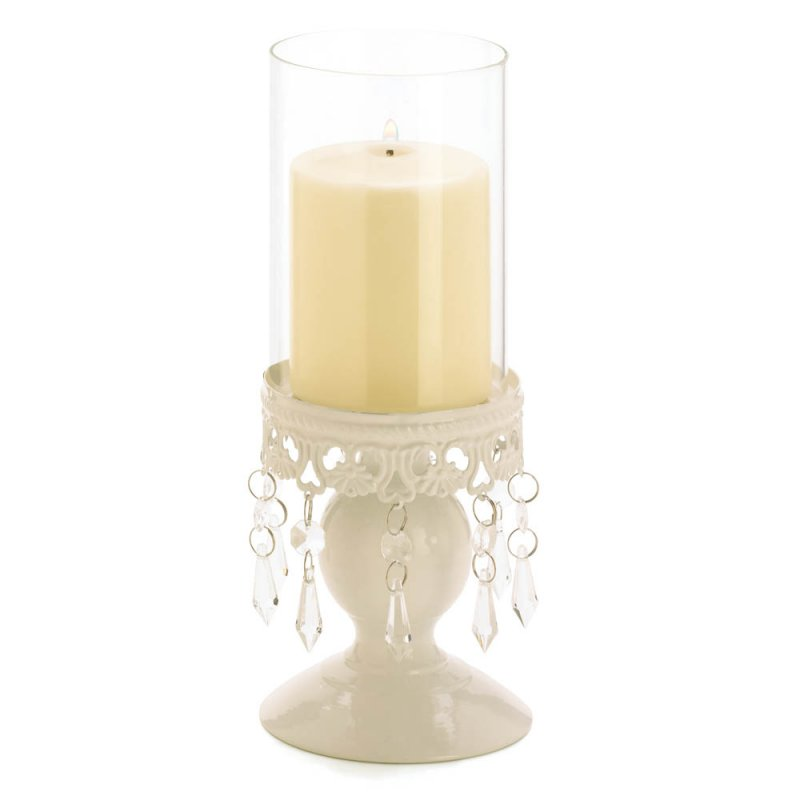 Image 1 of Elegant Ivory Lacy Jeweled Base Victorian Style Hurricane Candle Holder