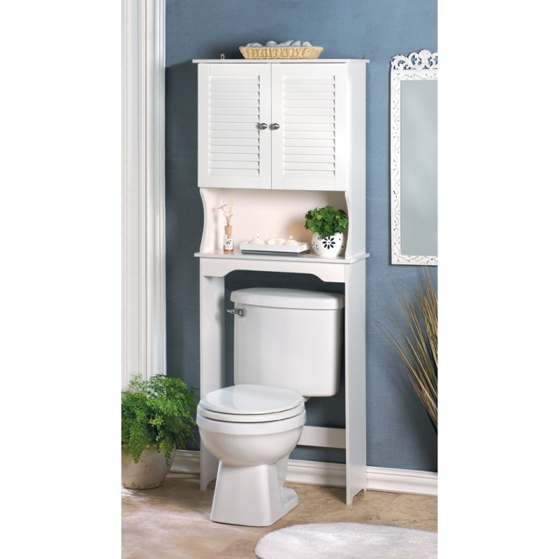 Nantucket White Bathroom Storage Towel Cabinet and Shelf Space Saver