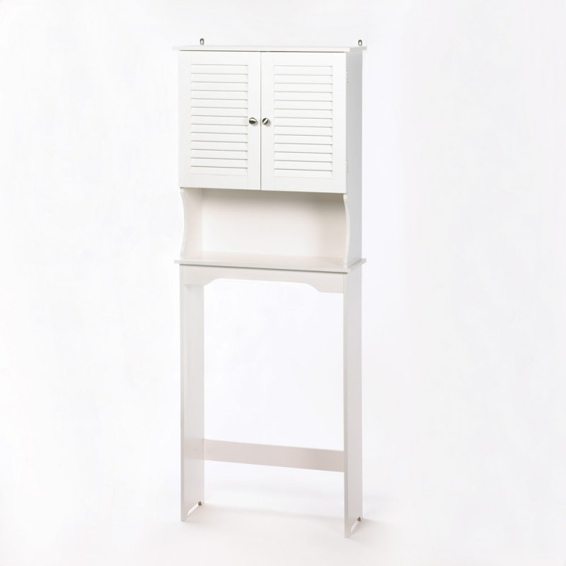 Image 1 of Nantucket White Bathroom Storage Towel Cabinet and Shelf Space Saver