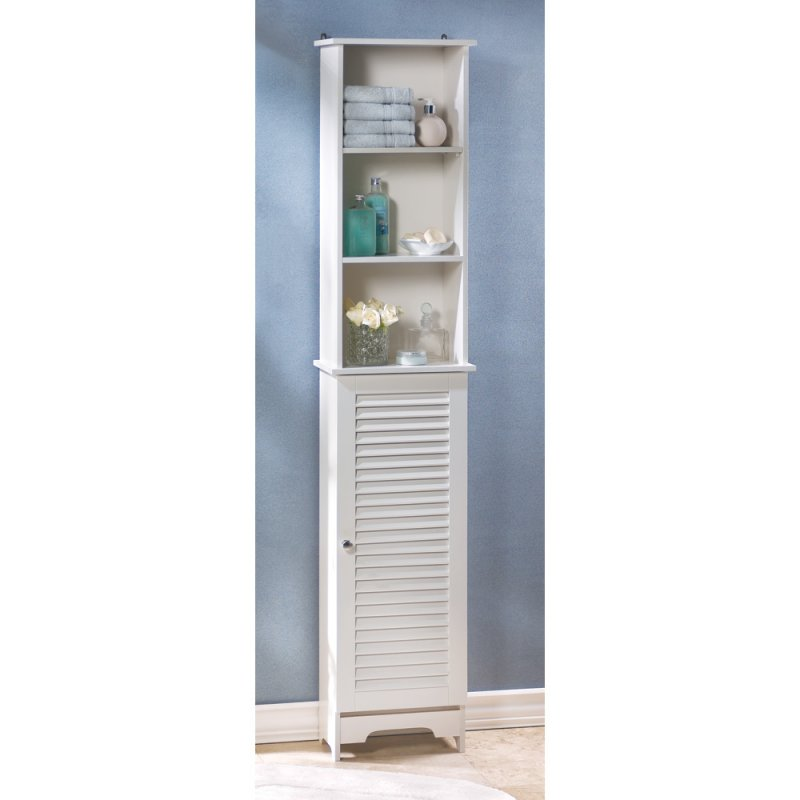 Nantucket Tall White Bathroom Kitchen Bedroom Storage Cabinet Louvered Door