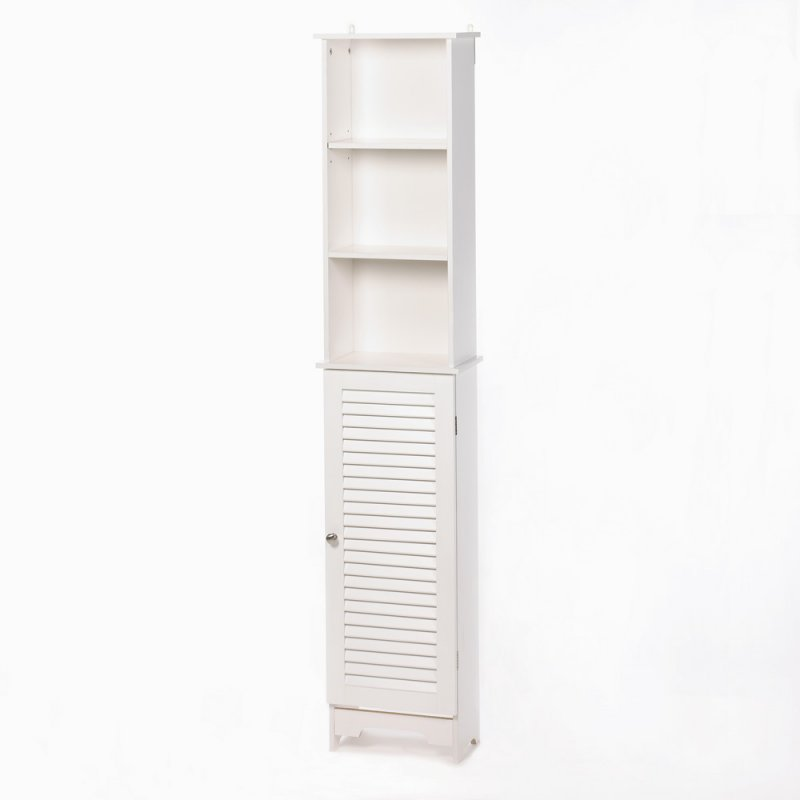 Image 1 of Nantucket Tall White Bathroom, Kitchen, Bedroom Storage Cabinet Louvered Door
