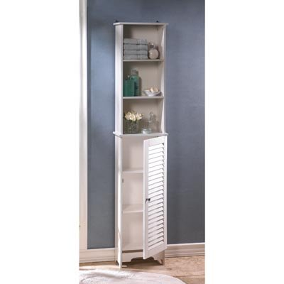 Image 2 of Nantucket Tall White Bathroom, Kitchen, Bedroom Storage Cabinet Louvered Door