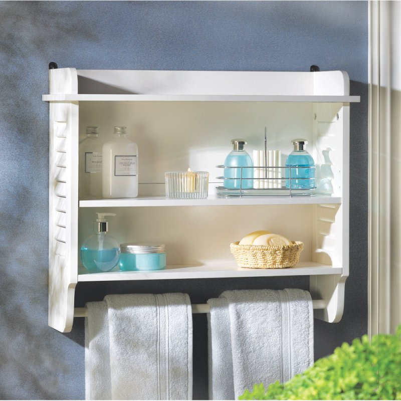 Nantucket White Bathroom Wall Shelves with Towel Bar Louvered Sides