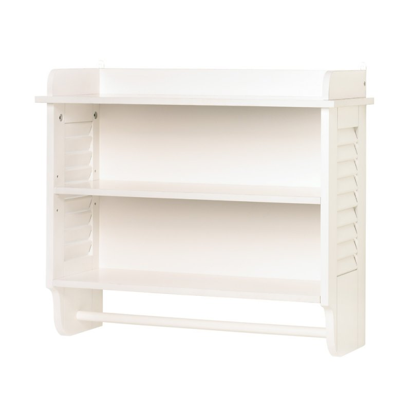 Image 1 of Nantucket White Bathroom Wall Shelves with Towel Bar Louvered Sides
