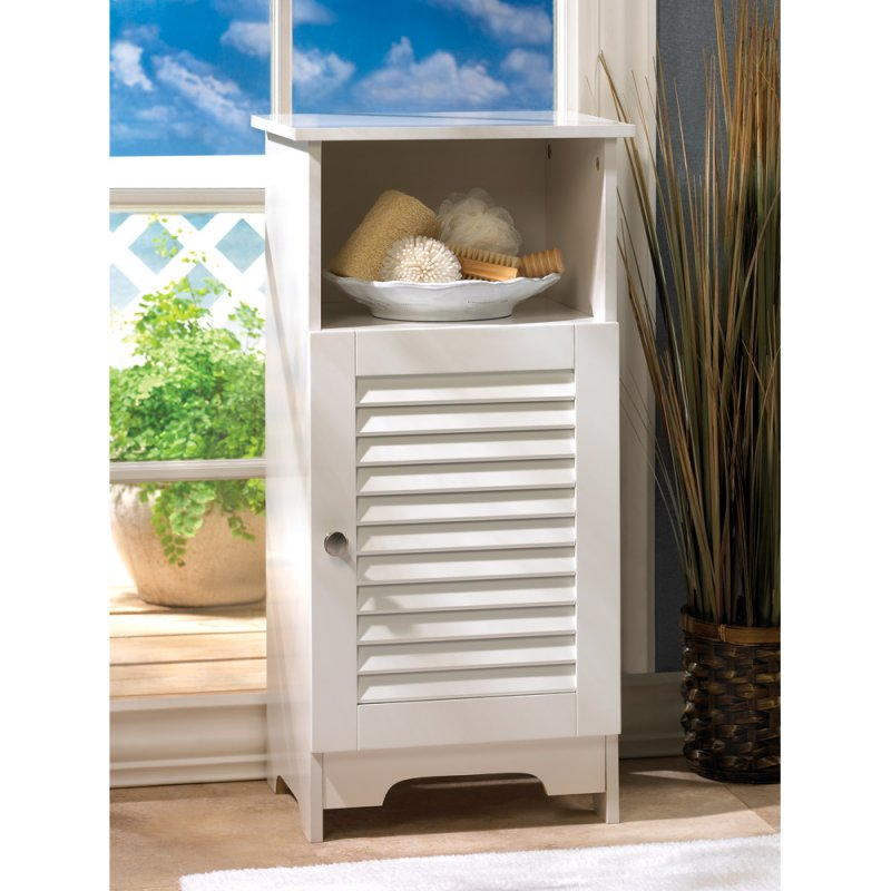 Image 0 of Nantucket White Storage Cabinet Night Stand Louvered Door