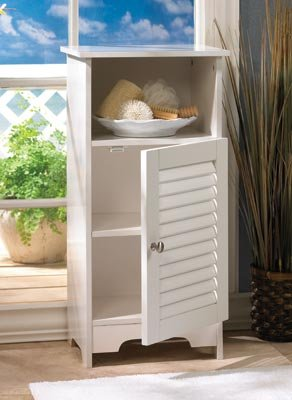 Image 1 of Nantucket White Storage Cabinet Night Stand Louvered Door