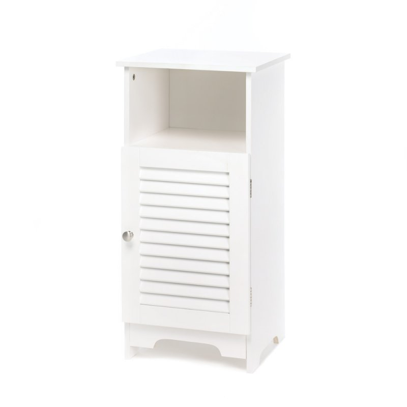 Image 2 of Nantucket White Storage Cabinet Night Stand Louvered Door