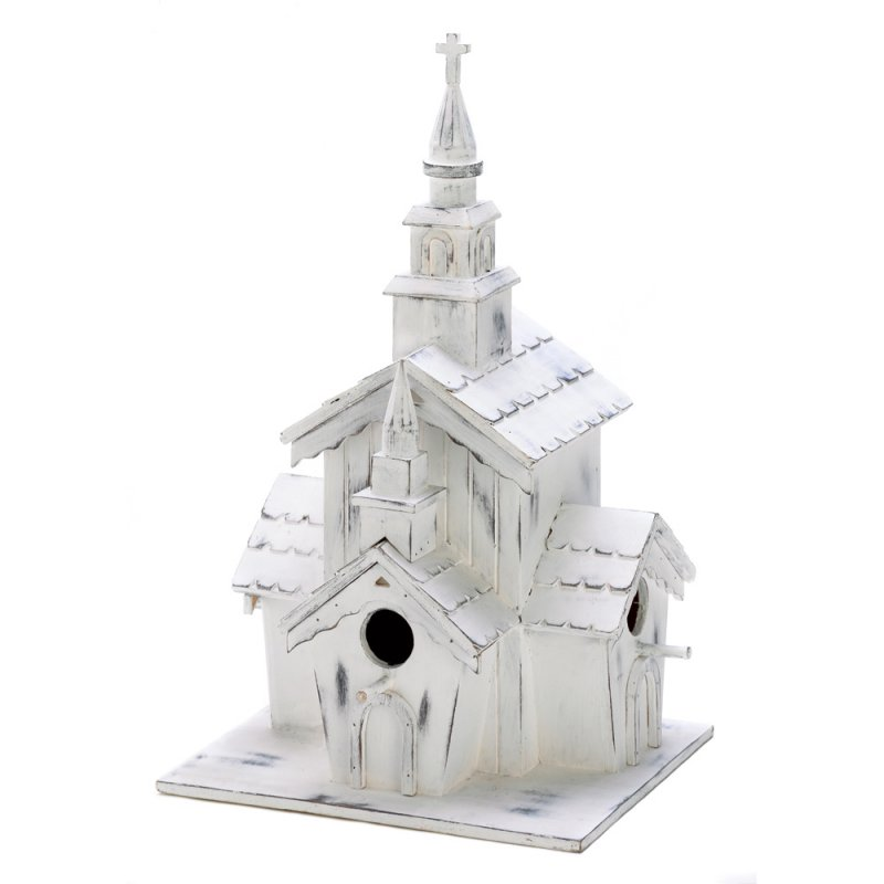 Image 1 of Little Whitewashed Chapel 3 Hole Birdhouse Functional Clean-Out Hole in Back