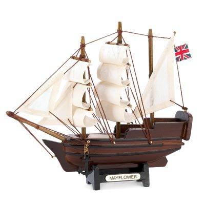 Mini Mayflower Ship Model Wood & Canvas Historical Theme Nautical Decor