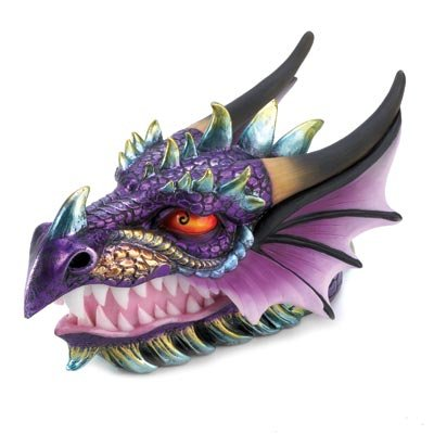 Image 1 of Purple Ferocious Dragon Head Treasure Trinket Box