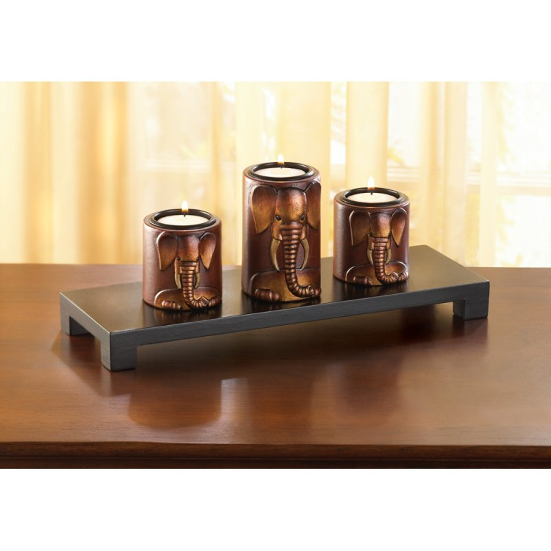 Image 0 of Set of 3 Carved 3D African Elephants Candle Holders on Wooden Stand Safari Decor